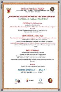 Menú Jornadas gastronómicas del Bierzo-2020
